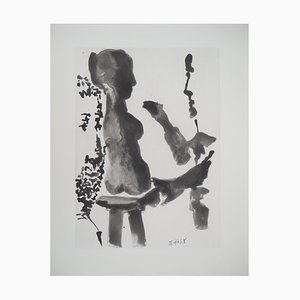 Sculptor Before His Sculpture Stand Etching by Pablo Picasso, 1965
