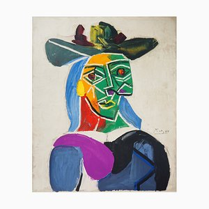 Woman with a Hat Dora Maar Lithograph by Pablo Picasso, 1956