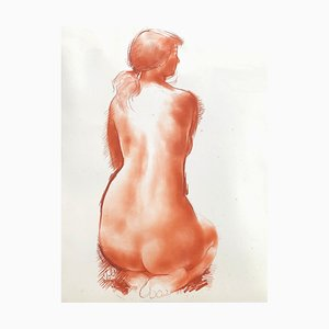 Vintage Aktmodell Zeichnung von Antoniucci Volti