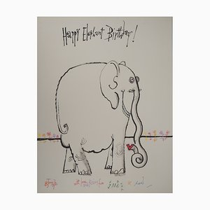 Dessin Vintage Happy Elephant par Ronald Searle