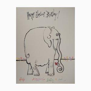 Vintage Happy Elephant Zeichnung von Ronald Searle