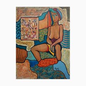 Vintage Sitz am Rand des Sees Acryl auf Platte von Hassan Ertugrul Kahraman
