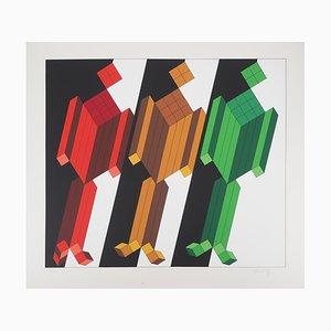 Serigrafia Kinetic vintage a tre personaggi di Victor Vasarely