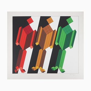 Vintage Kinetic Three Characters Screenprint by Victor Vasarely