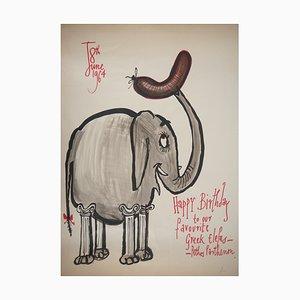 Vintage Elephant Grec Zeichnung von Ronald Searle