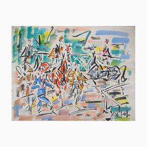 Horses and Jockeys Watercolor by Gen Paul