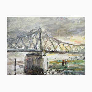 Rouen Bridge to the English Oil on Canvas by Jean-Jacques René, 1943