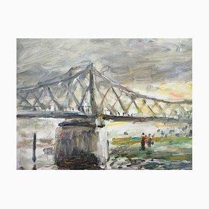 Rouen Bridge to the English Oil on Canvas by Jean-Jacques René, 1943