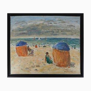 Estate vintage a Houlgate Oil on Canvas di Jean-Jacques René