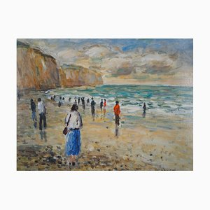 Marea baja vintage de Pourville Oil on Canvas de Jean-Jacques René