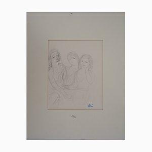 Disegno vintage a tre ragazze di Marie Laurencin