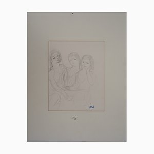 Three Girls Drawing by Marie Laurencin