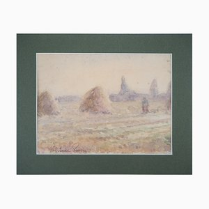 Tribute to Monet Haystacks and Harvest Watercolor by Paul Emile Pissarro