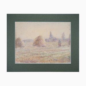 Vintage Tribute to Monet Heuschober und Ernte Aquarell von Paul Emile Pissarro