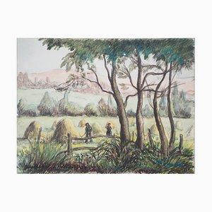 Acuarela The Harvest vintage de Paul Emile Pissarro