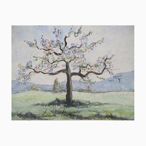 Vintage the Big Apple in Bloom Watercolor by Paul Emile Pissarro