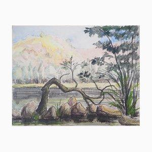 Acuarela the Lake vintage de Paul Emile Pissarro