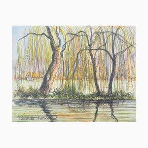 Vintage Chaumiere und Trauerweiden Aquarell von Paul Emile Pissarro