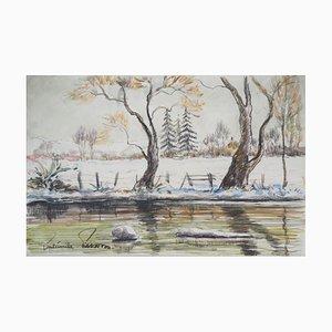 Vintage First Frost en Normandie Aquarelle par Paul Emile Pissarro