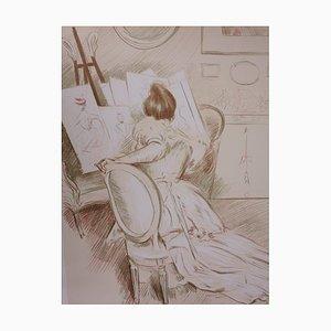 Lithographie Woman Drawing par Paul-César Helleu, 1901