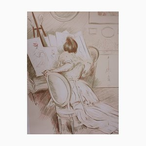 Woman Drawing Lithograph by Paul-César Helleu, 1901