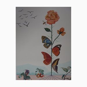 Flordali II the Butterfly Rose Lithograph by Salvador Dali, 1981