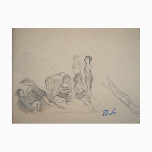 at the Beach Bathers Pencil Drawing by Marie Laurencin