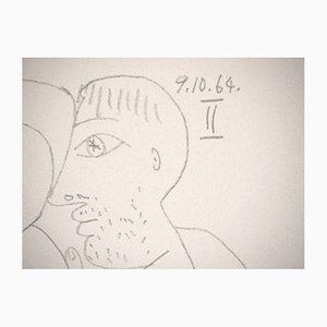Litografía Embracing Couple II de Pablo Picasso, 1970