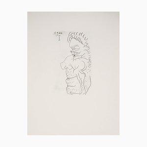 Litografia di profilo maschile di Pablo Picasso, 1970