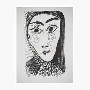 Femme au foulard noir Lithographie nach Pablo Picasso, 1970
