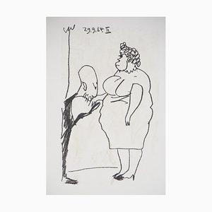 Litografia Baiser de salutation di Pablo Picasso, 1970