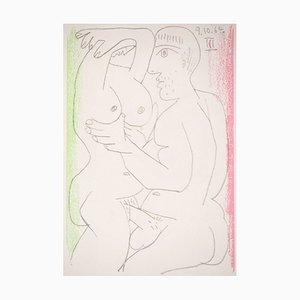 Die Stickerei Lithographie nach Pablo Picasso, 1964