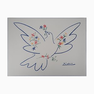 Dove With Branch of Flowers Lithograph After Pablo Picasso