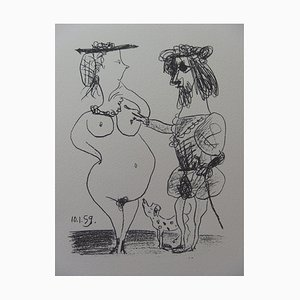 Litografia The Lord and the Lady vintage di Pablo Picasso