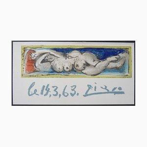 Lithographie Nu Couché sur Papier Vélin d'après Pablo Picasso