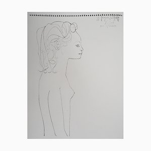Vintage Frau im Profil Lithographie nach Pablo Picasso