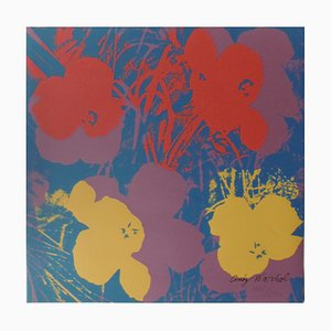 Litografía vintage con flores de amapola en azul de Andy Warhol