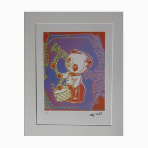 Vintage Panda Drummer Lithographie nach Andy Warhol