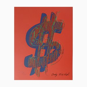 Us Dollar Red Lithograph after Andy Warhol