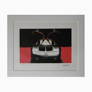 Litografía Mercedes C111 vintage en rojo y negro de Andy Warhol
