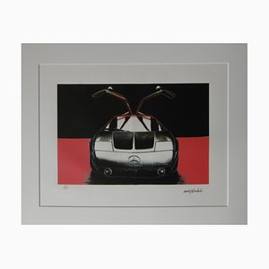 Mercedes C111 Red and Black Lithograph after Andy Warhol