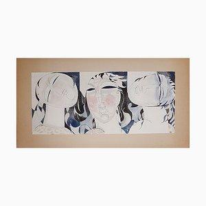 Women, Hair & Foliage Triptych by Henry de Waroquier, 1918