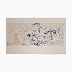 Disegno Il gatto, la colomba e la morte di Henry de Waroquier, 1936