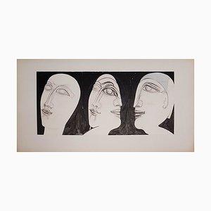 Jeune Femme et Son Double Dessin par Henry de Waroquier, 1934