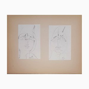 Woman's Face and the Face of Man Drawing by Henry de Waroquier, 1920, Set of 2