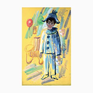 Acuarela vintage Gouache Arlequin au Carnaval y cartón gouache de Nino Giuffrida