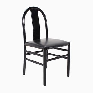 Black Lacquered Side Chairs, 1970s, Set of 4