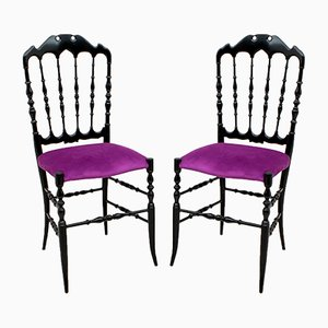 Mid-Century Italian Chiavari Dining Chairs by Giuseppe Descalzi, 1950s, Set of 2