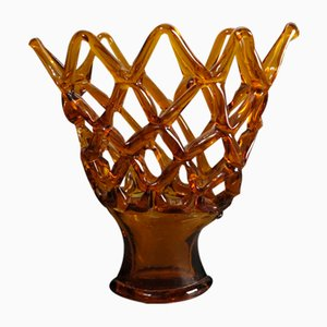 Large Italian Murano Glass Bowl with Grid Pattern from Made Murano Glass, 1950s
