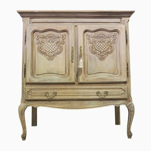 Vintage Louis XV Style Limed Oak Raw Wood Cabinet
